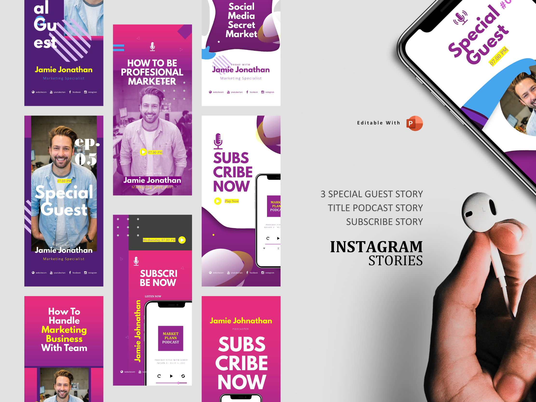 Download Free Podcast Instagram Stories Post Template Graphic By Rivatxfz for Cricut Explore, Silhouette and other cutting machines.