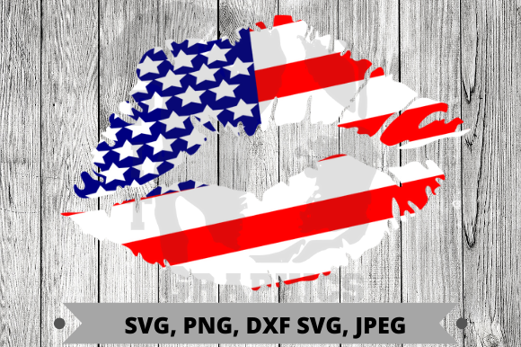 Red, White and Blue Lips SVG Cut Files