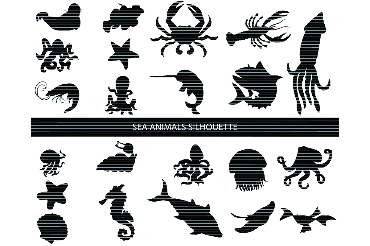 Download Free Sea Animals Clip Art Bundle Graphic By Meshaarts Creative Fabrica for Cricut Explore, Silhouette and other cutting machines.