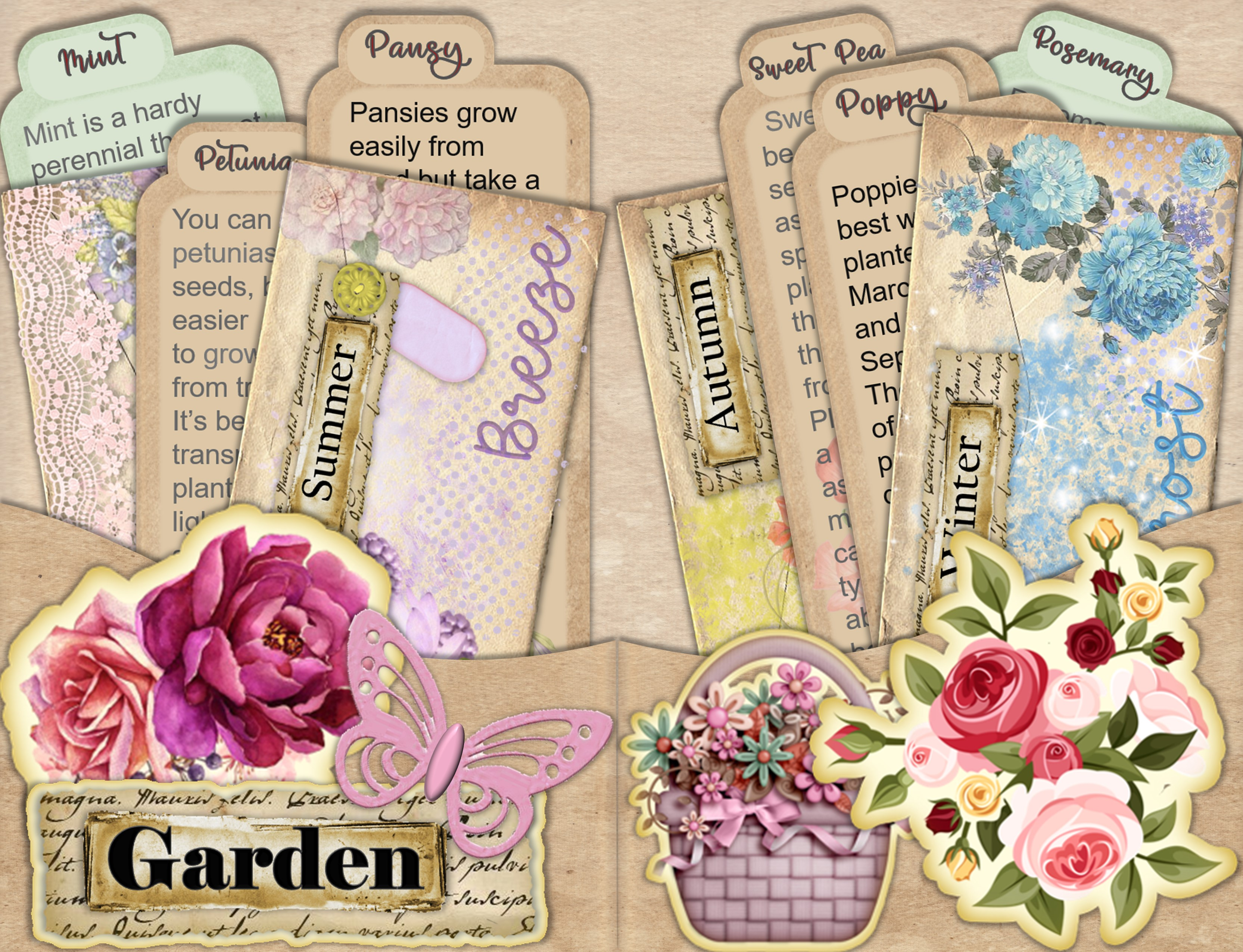 Download Free Shabby Chic Stuffed Pockets Kit Graphic By The Paper Princess Creative Fabrica for Cricut Explore, Silhouette and other cutting machines.
