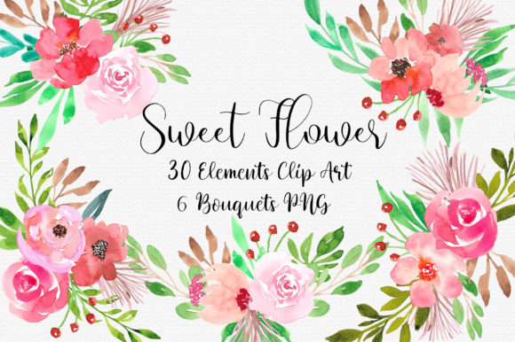 Sweet Flower Bouquet Clipart Graphic Illustrations By PinkPearly