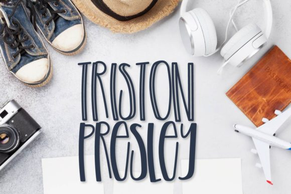 Print on Demand: Triston Presley Duo Display Font By Justina Tracy
