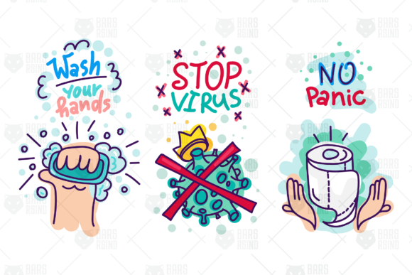 Print on Demand: Virus Lettering Stickers Set Graphic Illustrations By barsrsind - Image 1