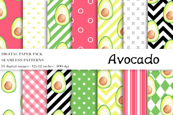 Download Free Watercolor Avocado Digital Papers Graphic By Bonadesigns for Cricut Explore, Silhouette and other cutting machines.