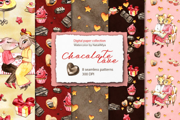 Watercolor Chocolate Digital Paper Graphic Patterns By NataliMyaStore