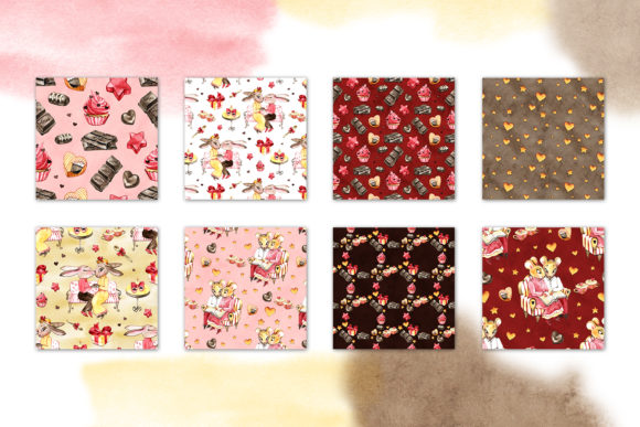 Watercolor Chocolate Digital Paper Graphic Patterns By NataliMyaStore - Image 2