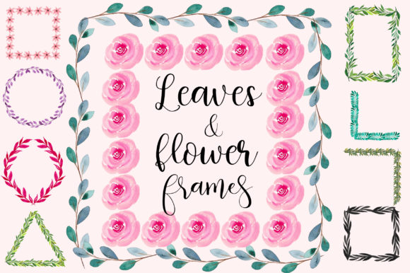 Watercolor Leaves and Flowers Frames Grafik Illustrationen von PinkPearly