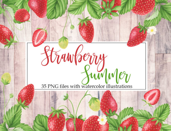 Print on Demand: Watercolor Strawberry Clipart Graphic Illustrations By tpushnaya