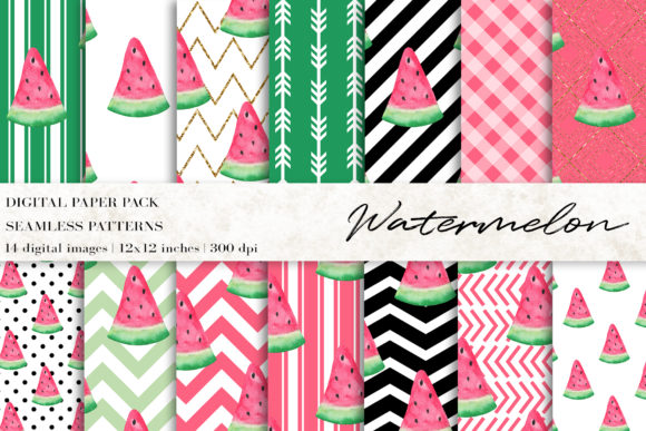 Watercolor Watermelon Digital Papers Grafik Muster von BonaDesigns