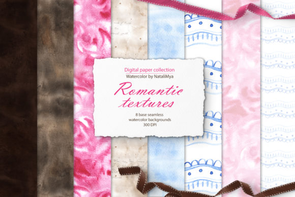 Watercolor Romantic Textures Graphic Textures By NataliMyaStore