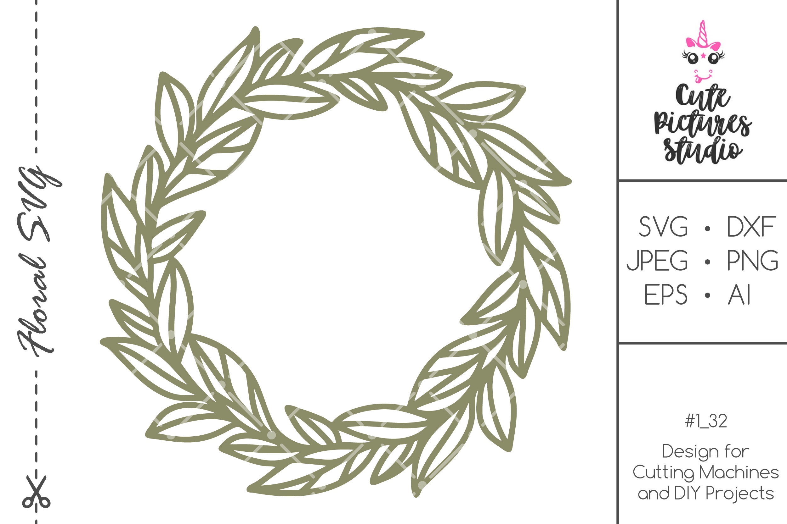 Download Free Wedding Monogram Frame With Leaves Graphic By for Cricut Explore, Silhouette and other cutting machines.