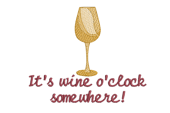 Wine O'clock Food & Dining Embroidery Design By Carol Undy