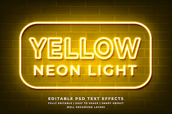 Download Free Yellow Neon 3d Text Effect Mockup Graphic By Syifa5610 for Cricut Explore, Silhouette and other cutting machines.
