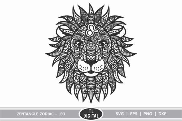 Zodiac Zentangle - Leo / Lion Graphic Illustrations By TL Digital