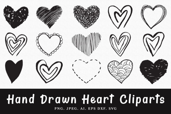 Print on Demand: 15+ Handmade Heart Cliparts Graphic Illustrations By Creative Tacos - Image 1