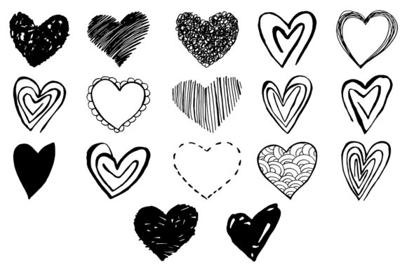 Print on Demand: 15+ Handmade Heart Cliparts Graphic Illustrations By Creative Tacos - Image 2