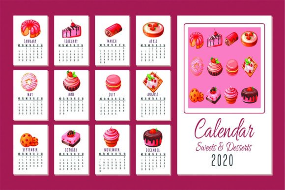 Print on Demand: 2020 Calendar Desserts Color & BW Pages Graphic KDP Interiors By SunandMoon - Image 1