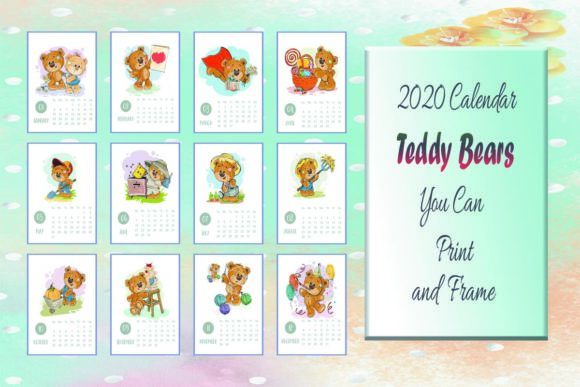 Print on Demand: 2020 Calendar Teddy Bears Color & Grey Graphic KDP Interiors By SunandMoon - Image 1