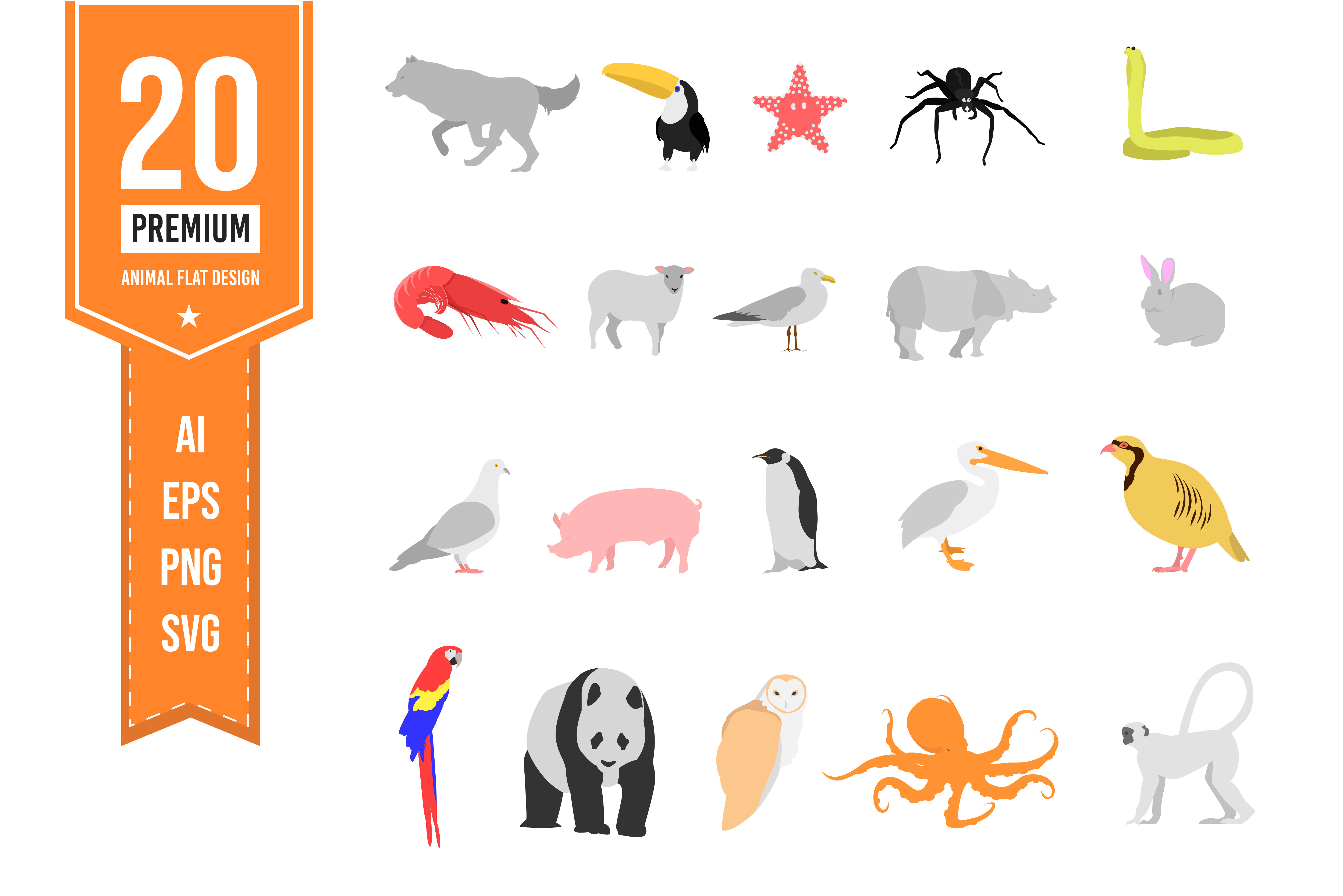 Download Free Animal Vector Flat Icon Graphic By Indrabayunursa Creative Fabrica for Cricut Explore, Silhouette and other cutting machines.