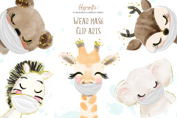 Download Free Animals Wear Masks Illustrations Graphic By Hippogifts Creative Fabrica for Cricut Explore, Silhouette and other cutting machines.