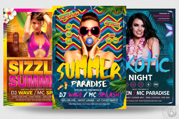 Beach Party Flyer Bundle V3 Graphic Print Templates By ThatsDesignStore