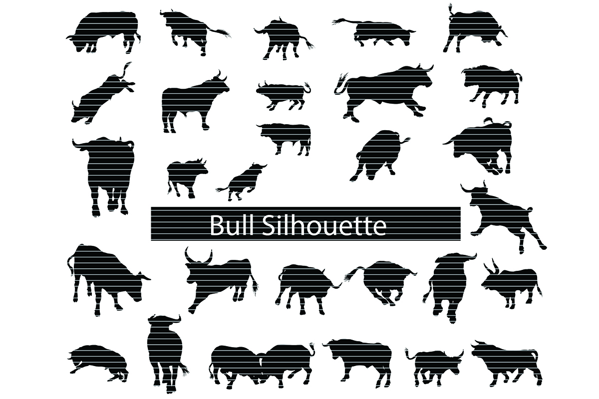 Download Free Bull Silhouette Clip Art Bundle Graphic By Meshaarts Creative for Cricut Explore, Silhouette and other cutting machines.