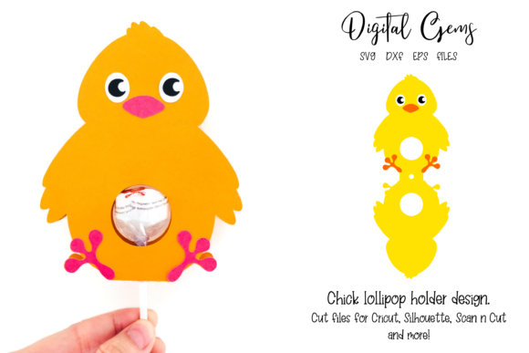 Chick Lollipop Holder Design Graphic 3D SVG By Digital Gems