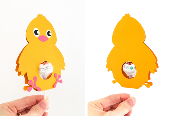 Download Free Chick Lollipop Holder Design Graphic By Digital Gems Creative for Cricut Explore, Silhouette and other cutting machines.