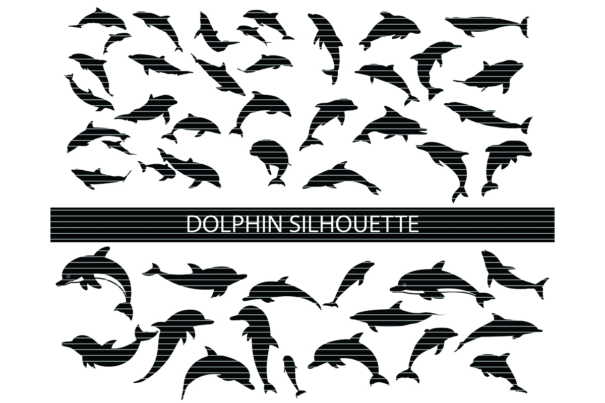 Download Free Dolphin Silhouette Clip Art Bundle Graphic By Meshaarts for Cricut Explore, Silhouette and other cutting machines.