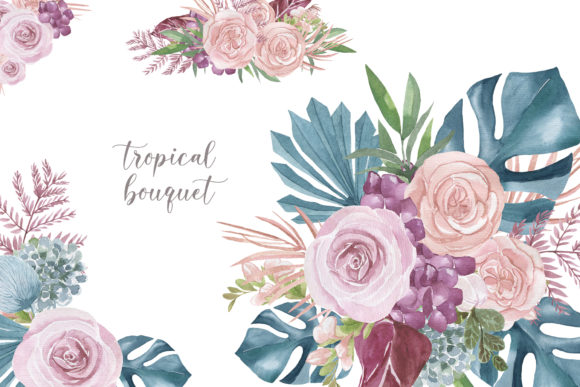 Print on Demand: Dusty Blue Tropical Leaves and Marsala Graphic Illustrations By laffresco04