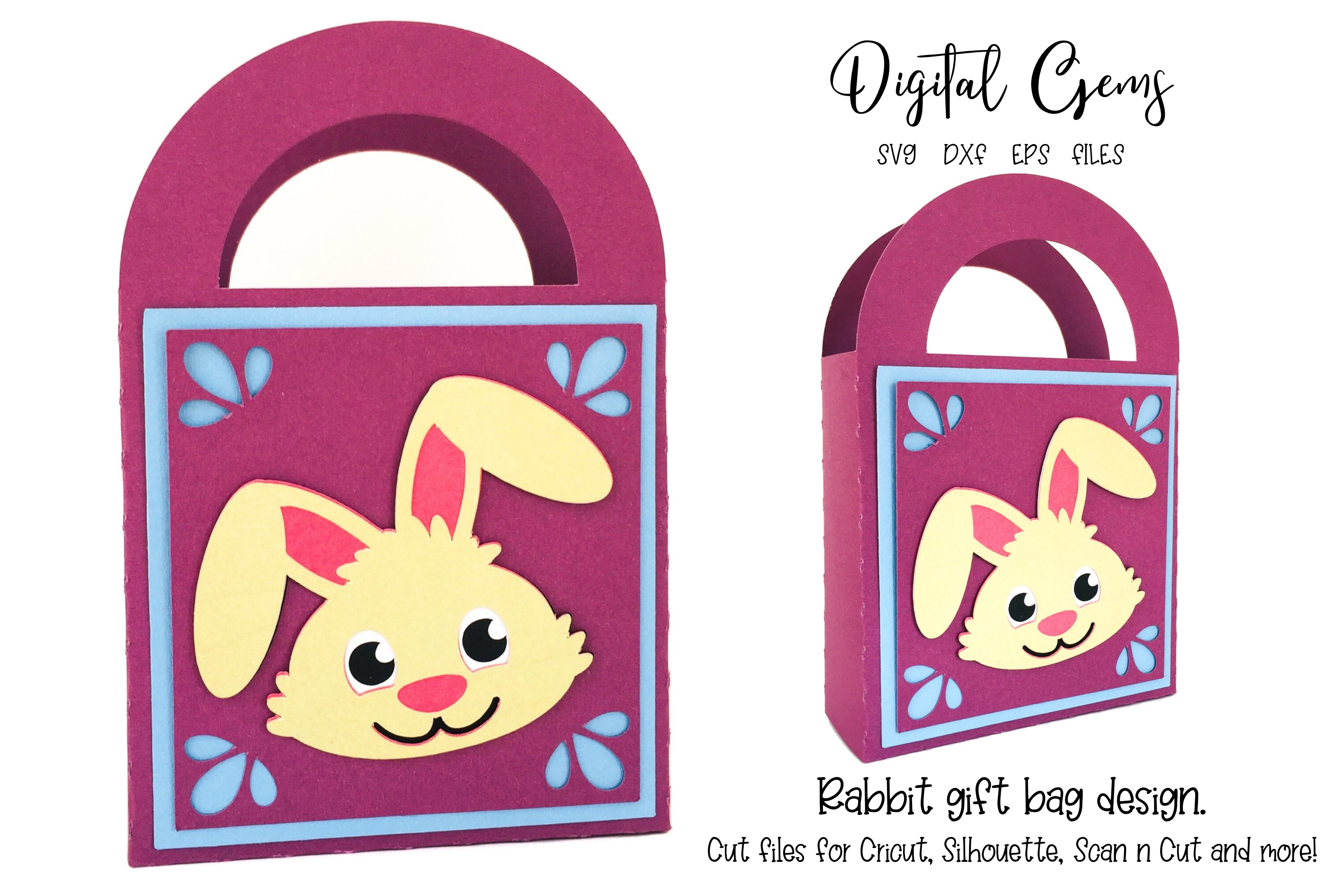 Download Free Easter Rabbit Gift Bag Design Graphic By Digital Gems Creative for Cricut Explore, Silhouette and other cutting machines.