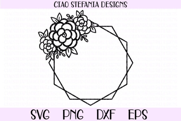 Download Free Flower Geometric Diamond Hexagon Frame Graphic By for Cricut Explore, Silhouette and other cutting machines.