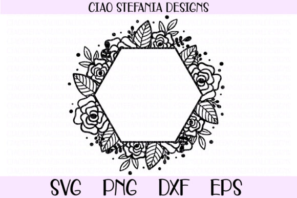 Flower Geometric Hexagon Wedding Frame Graphic By