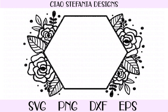 Download Free Flower Geometric Hexagon Wedding Frame Graphic By for Cricut Explore, Silhouette and other cutting machines.
