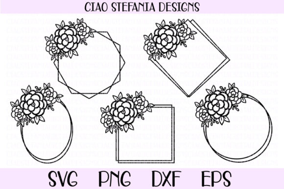 Download Free Flower Geometric Wedding Frames Bundle Graphic By for Cricut Explore, Silhouette and other cutting machines.