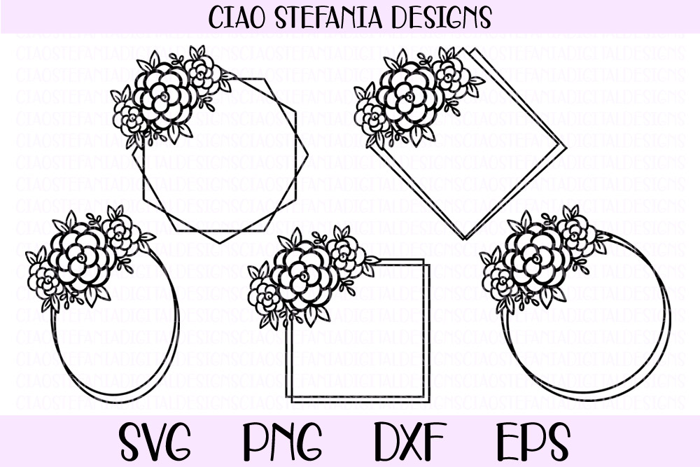 Download Free Flower Geometric Wedding Frames Bundle Graphic By SVG Cut Files