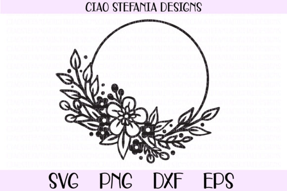 Flowers Wreath Wedding Circle Frame Graphic By
