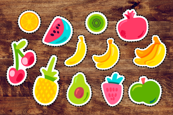 Print on Demand: Happy Fruits Patches Set Graphic Objects By barsrsind