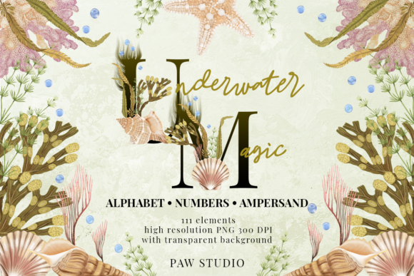 Print on Demand: Marine Alphabet Clipart Letters Numbers Grafik Illustrationen von PawStudio
