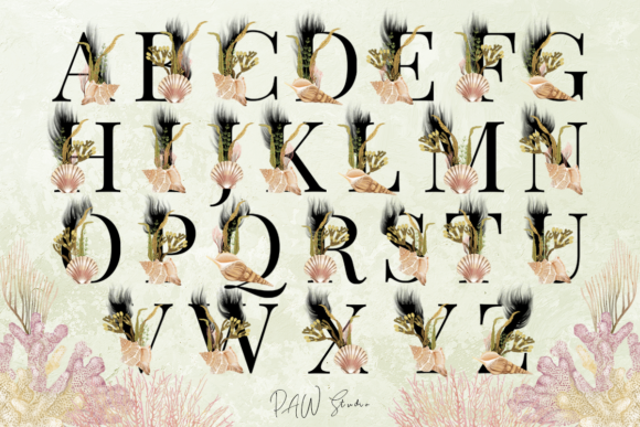 Print on Demand: Marine Alphabet Clipart Letters Numbers Graphic Illustrations By PawStudio - Image 3