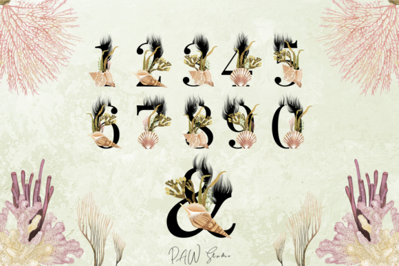Print on Demand: Marine Alphabet Clipart Letters Numbers Graphic Illustrations By PawStudio - Image 4