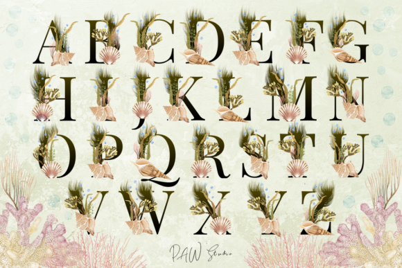 Print on Demand: Marine Alphabet Clipart Letters Numbers Graphic Illustrations By PawStudio - Image 6