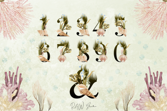 Print on Demand: Marine Alphabet Clipart Letters Numbers Graphic Illustrations By PawStudio - Image 7