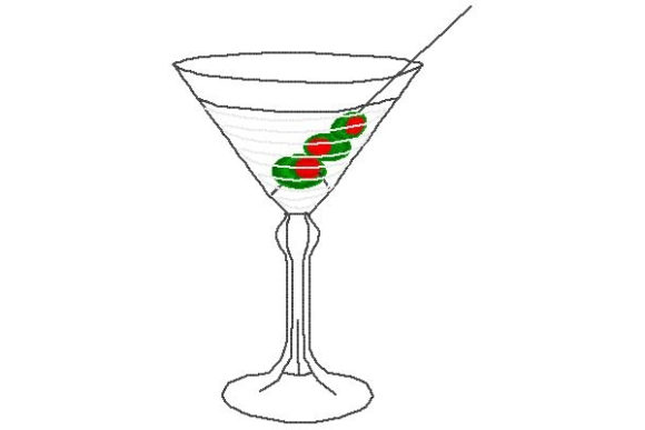 Martini Wine & Drinks Embroidery Design By Sue O'Very Designs