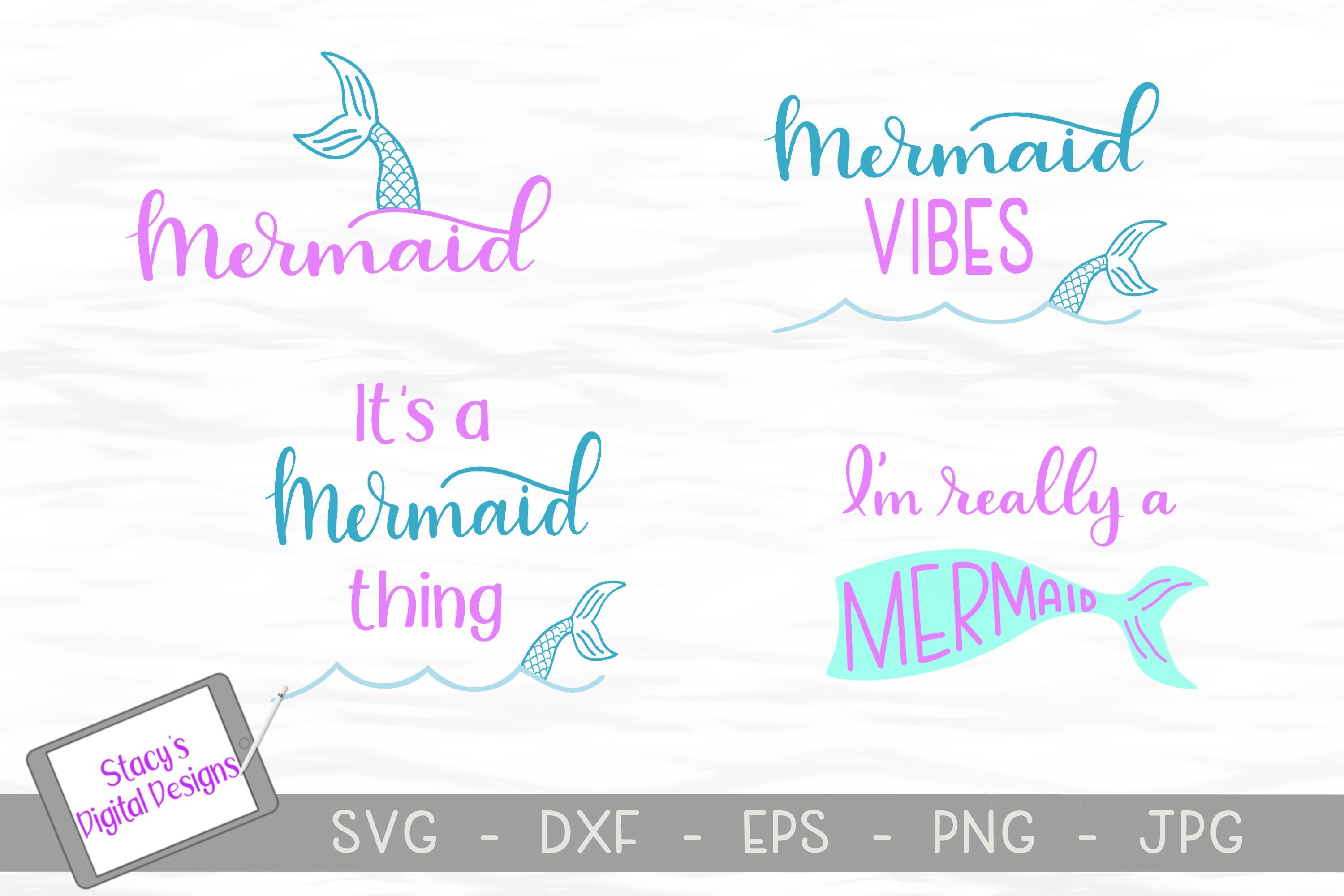 Download Free Mermaid Bundle 4 Designs Graphic By Stacysdigitaldesigns for Cricut Explore, Silhouette and other cutting machines.