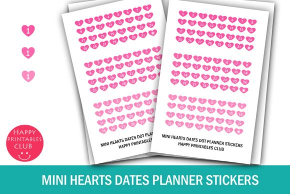 Print on Demand: Mini Heart Date Stickers-Calendar Number Graphic Crafts By Happy Printables Club