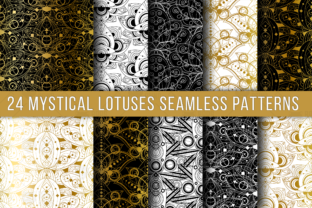 Print on Demand: Mystical Lotuses Seamless Patterns Set Graphic Patterns By barsrsind