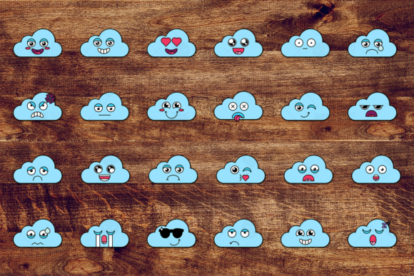 Print on Demand: Nice Cloud Smiles Set Graphic Icons By barsrsind