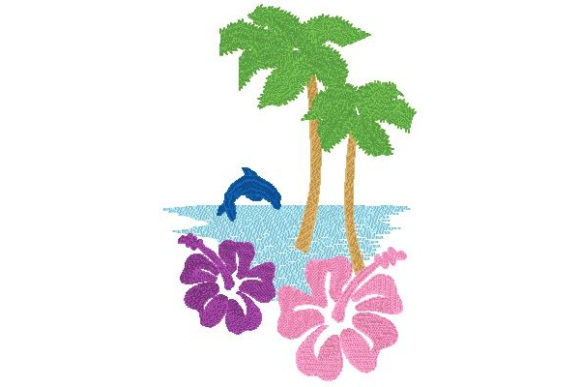 Ocean Scene Beach & Nautical Embroidery Design By Sue O'Very Designs