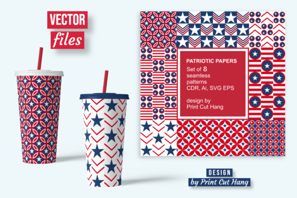 Print on Demand: Patriotic Repeating Patterned Papers Graphic Patterns By print.cut.hang